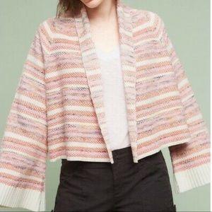 Anthropologie Moth Pink Striped Cardigan